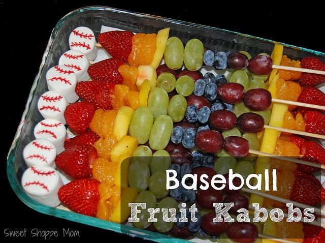 Baseball Themed Fruit Kabobs – Healthier Sports Snacks