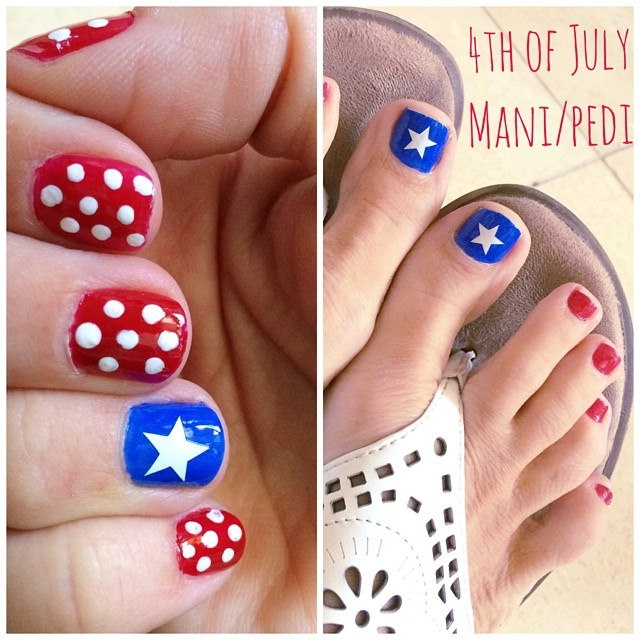 Fourth of July Manicure and Pedicure Nails