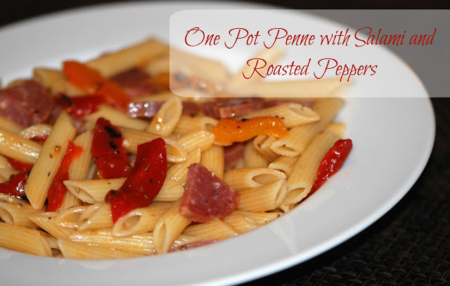 One Pot Penne with Salami and Roasted Peppers