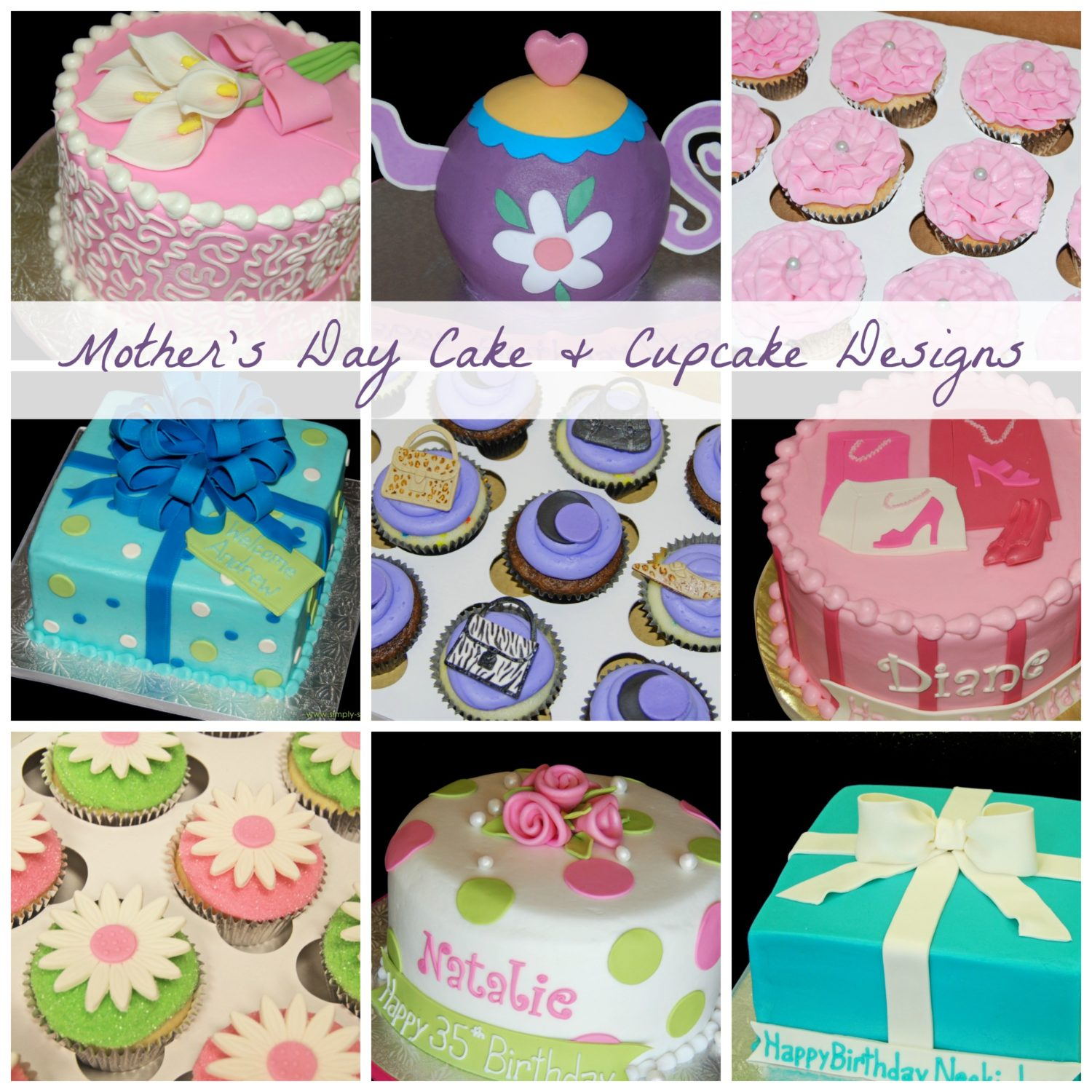 Mothers Day Cake and Cupcake Design Ideas