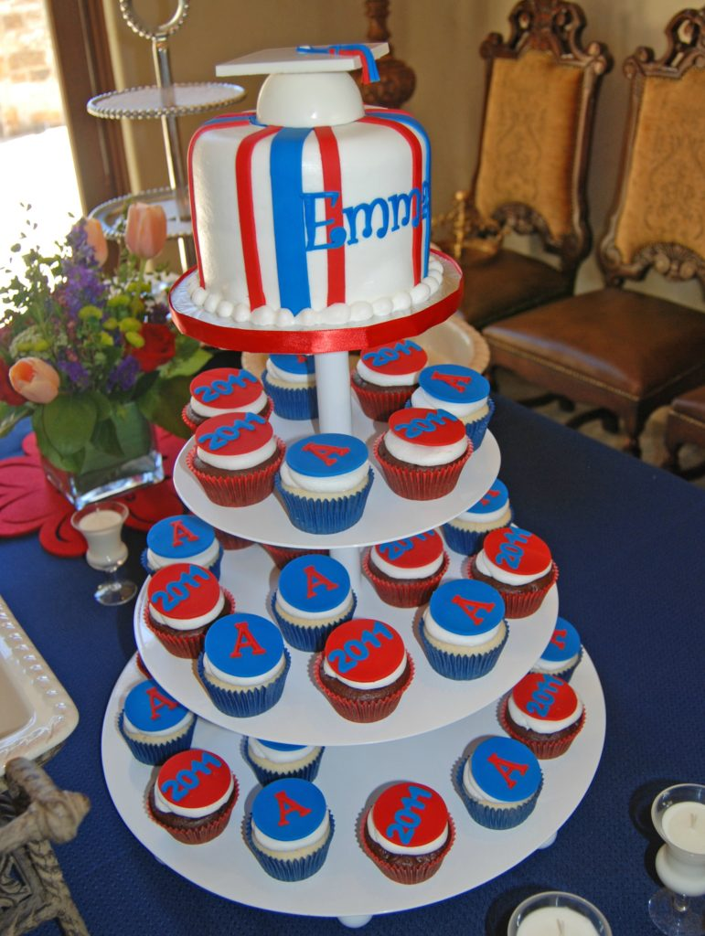 U of A graduation cupcake tower