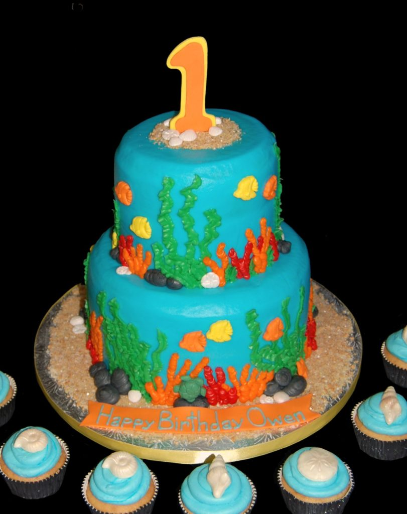 2 tiered Under the Sea Birthday Cake