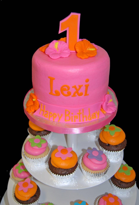 1st birthday Hawaiian cupcake tower