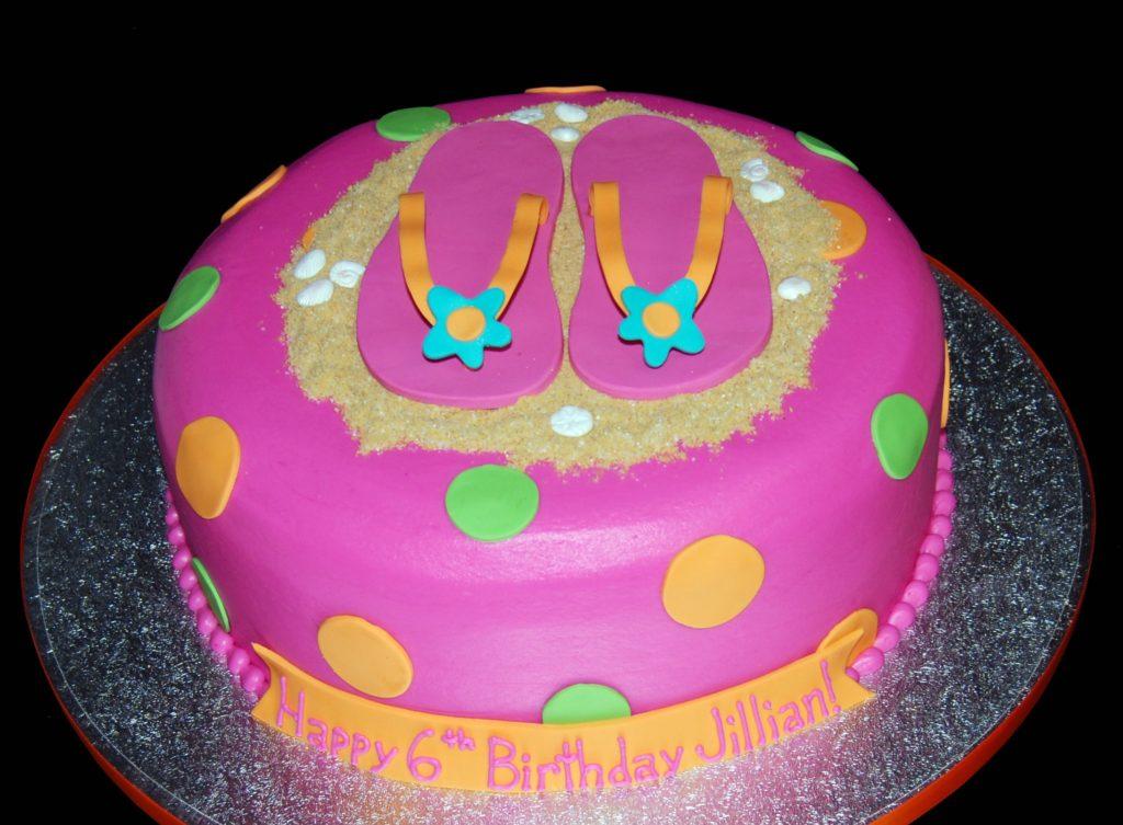 Pink flip flop cake
