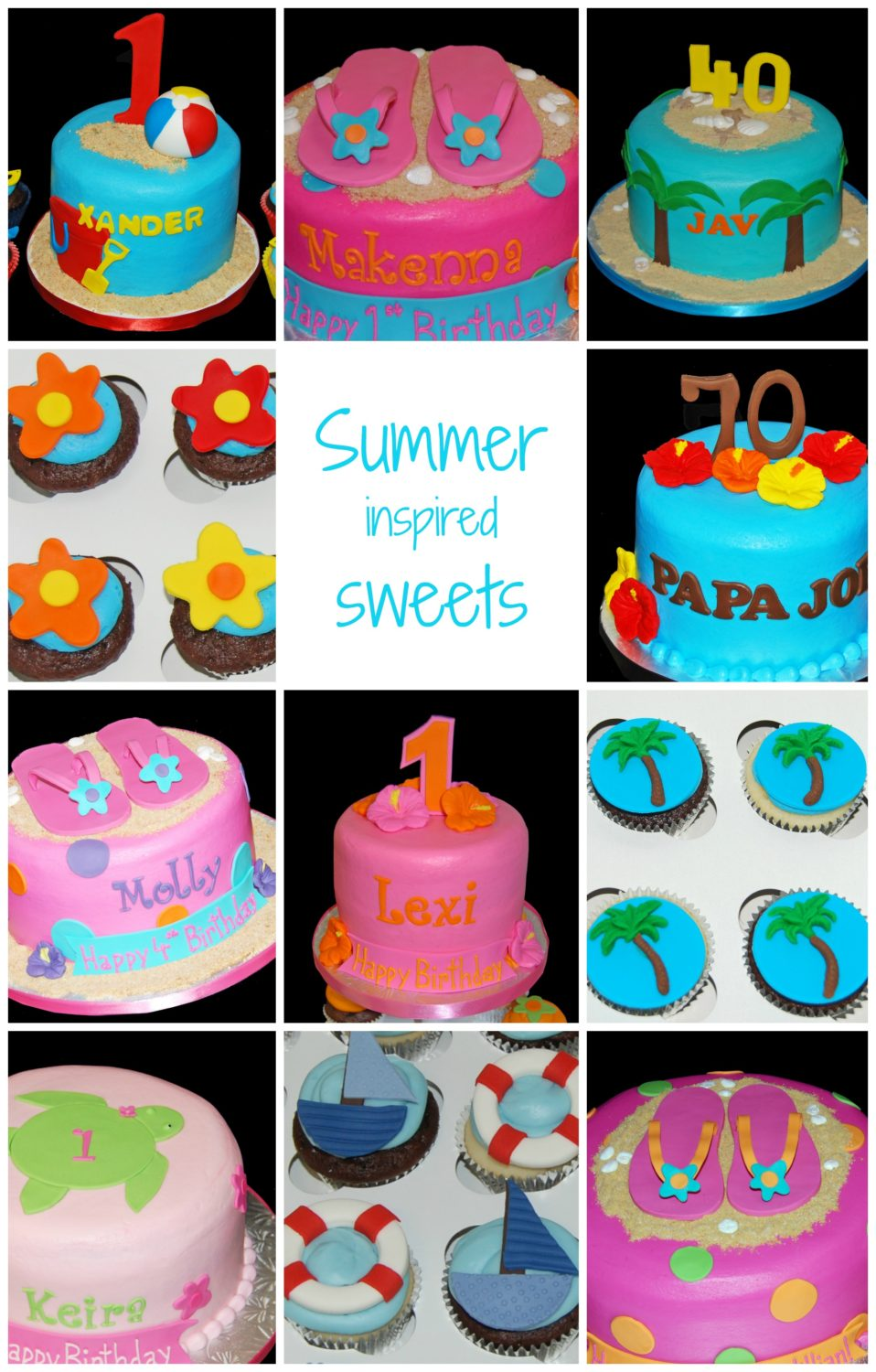 Summer inspired cake and cupcake designs