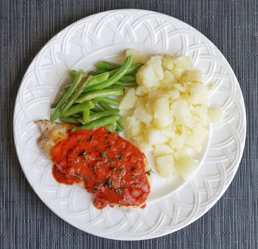 Roasted Chicken with Patatas Bravas