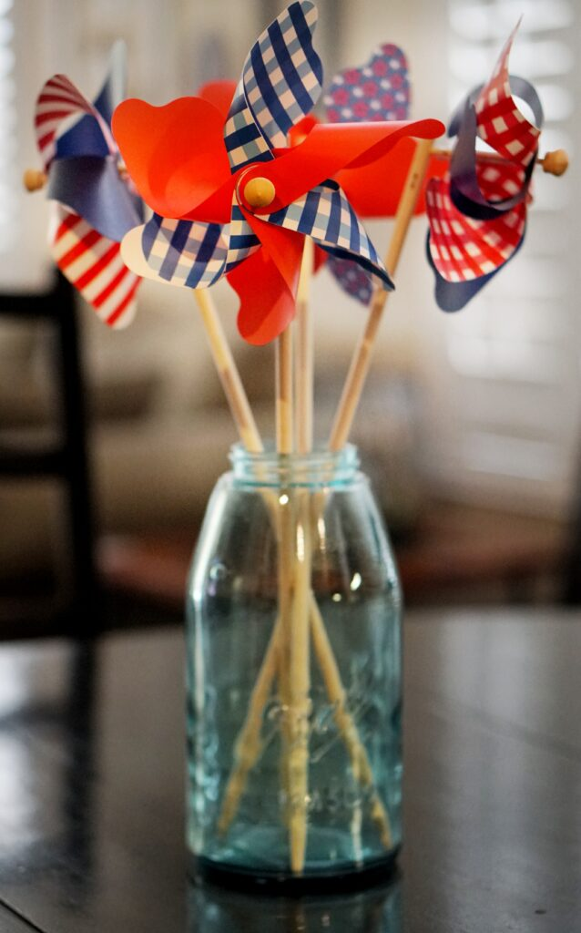 4th of july centerpiece pinwheels