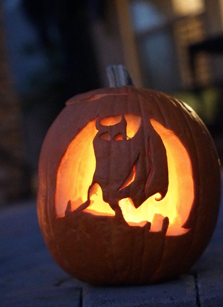 Bat Carved Pumpkin