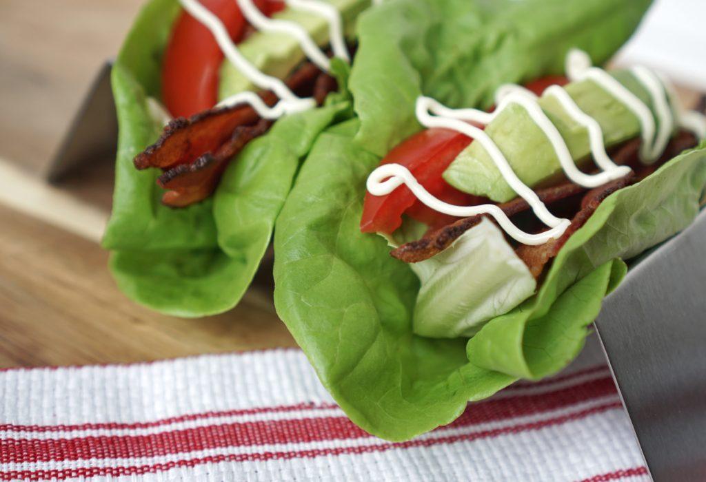Keto Paleo Avocado Bacon Lettuce Tomato Wraps