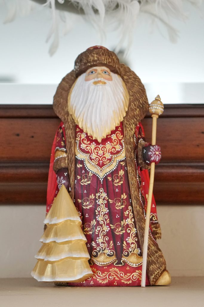 Christmas Home Tour Russian Wood Carved Santa