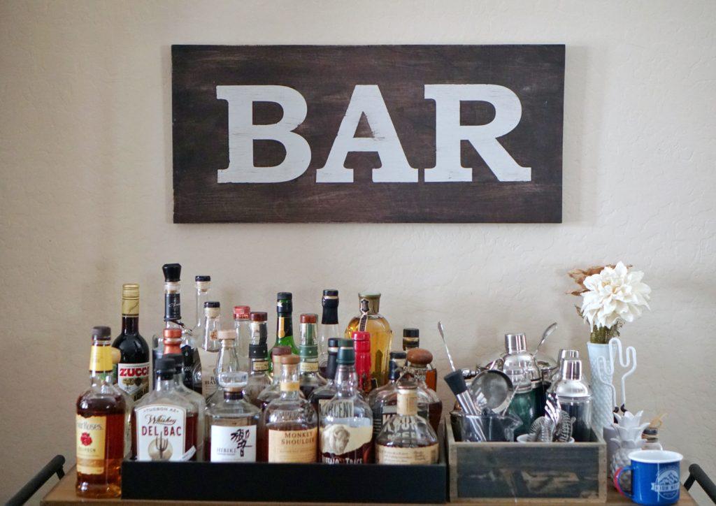 home bar wooden sign