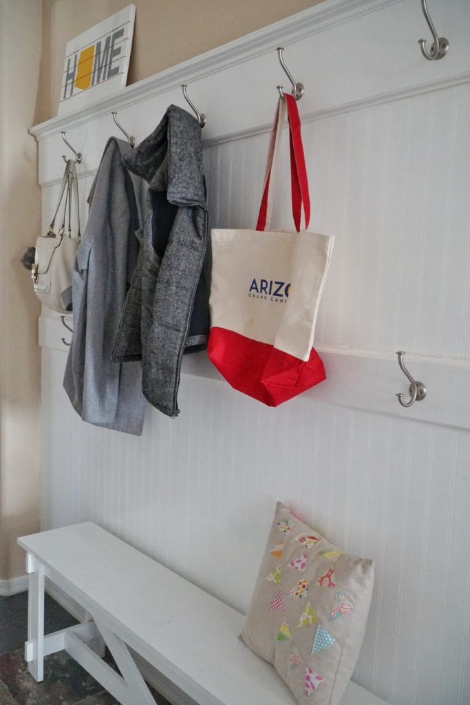 DIY mudroom coat hooks