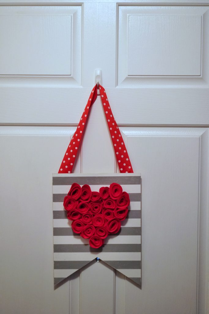Valentines Day felt flower door decor