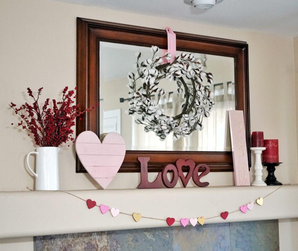 Valentines Day decor mantel