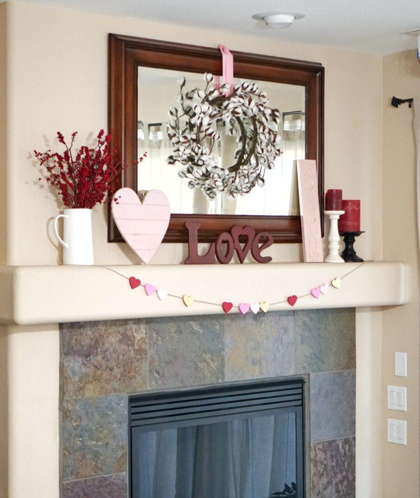 valentines day mantel decor