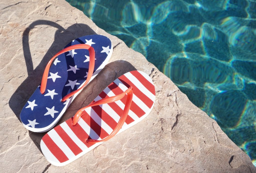 4th of July Flip Flops Poolside