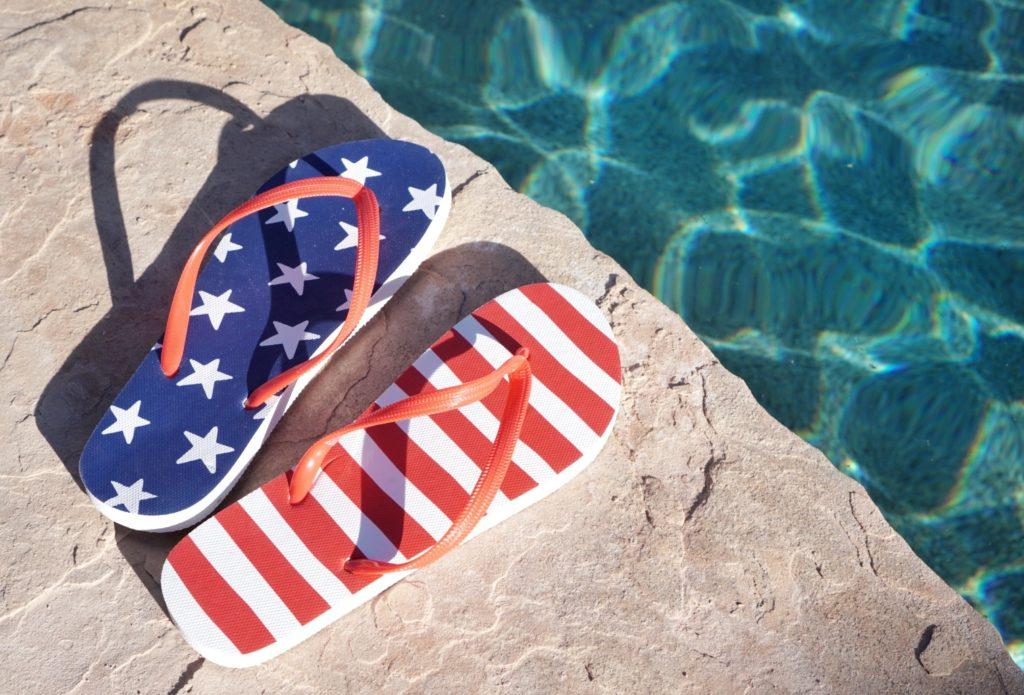 4th of July Flip Flops Poolside