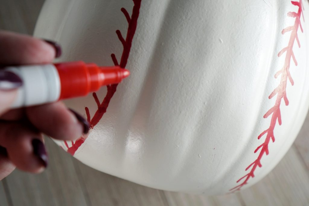 DIY Baseball Pumpkin paint pen