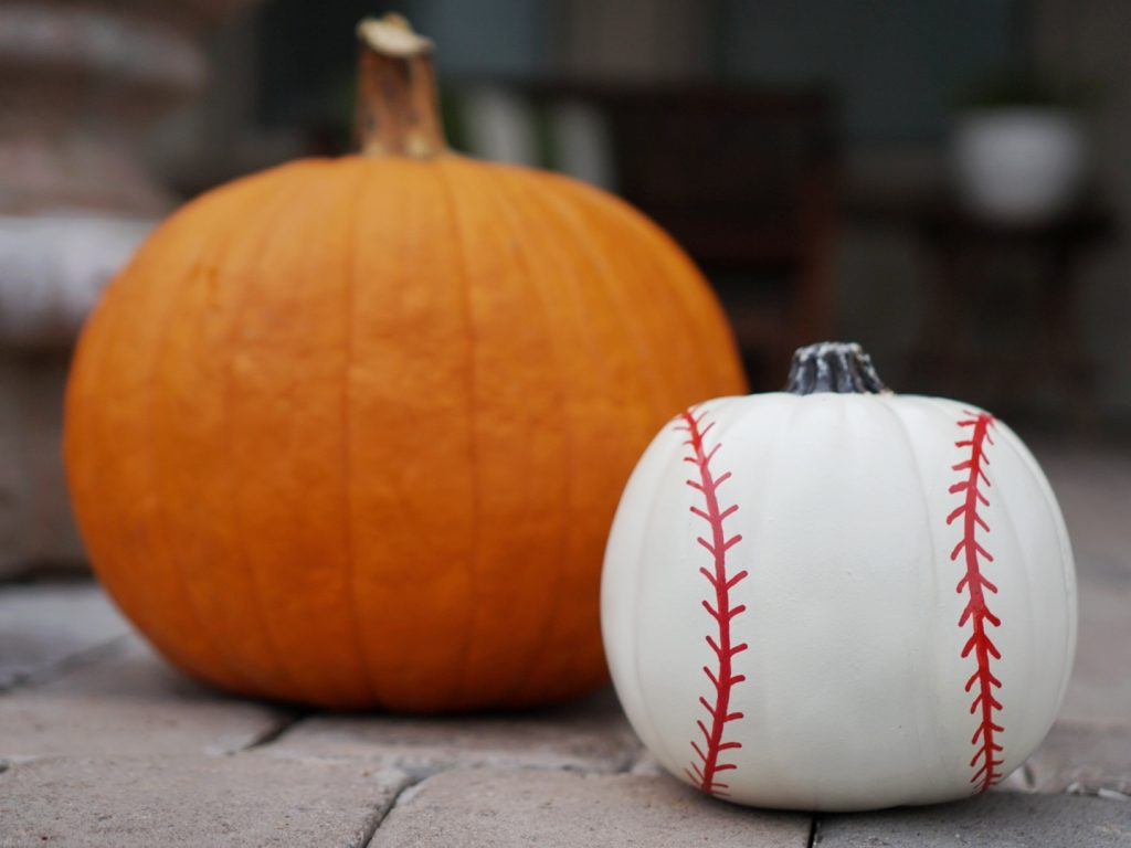 Paint your own baseball pumpkin