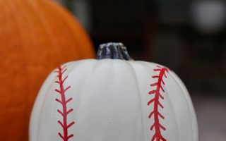 No-carve Baseball Pumpkin