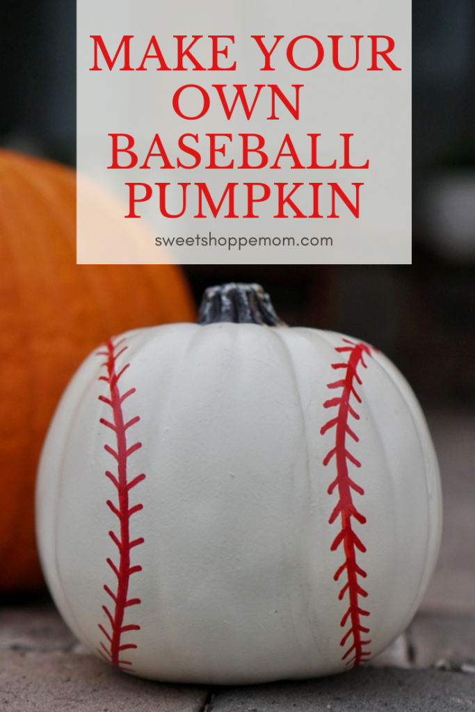 DIY Baseball Painted Pumpkin