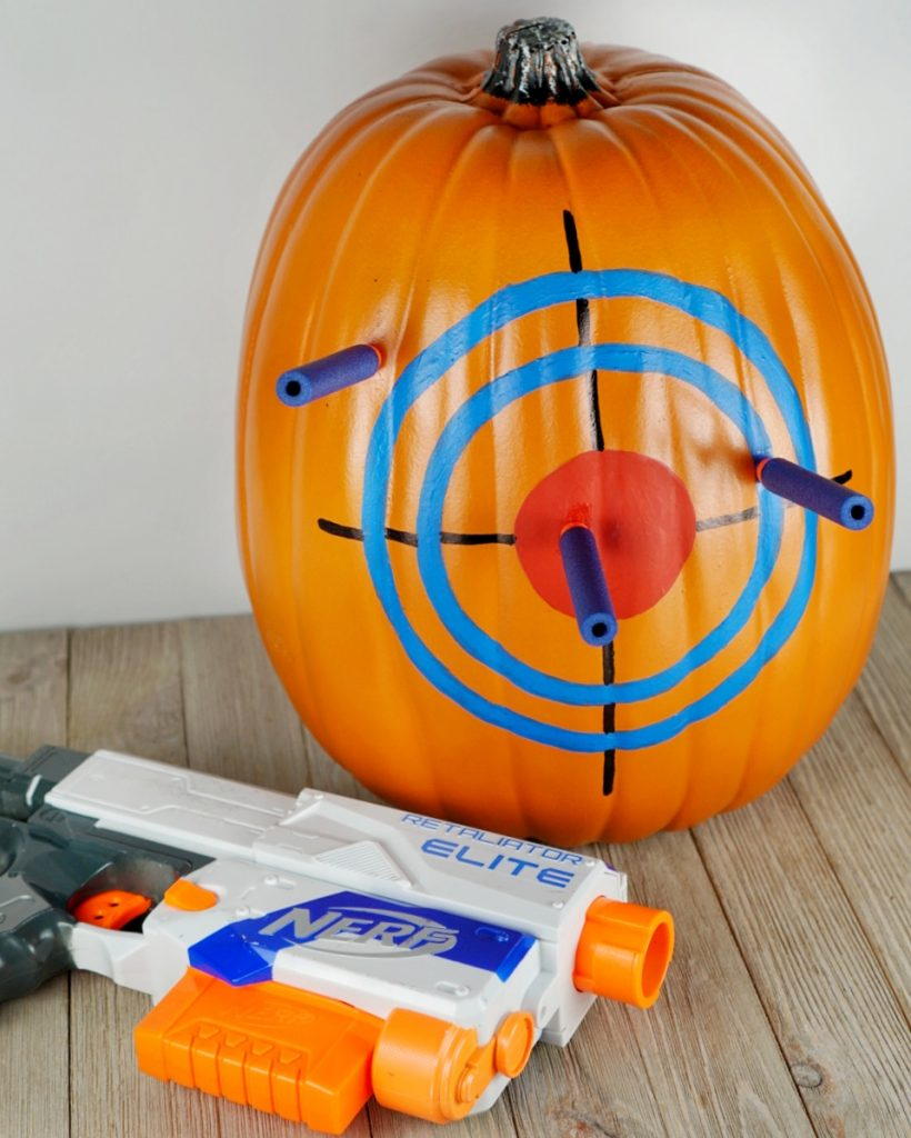 Nerf blaster no-carve Halloween pumpkin