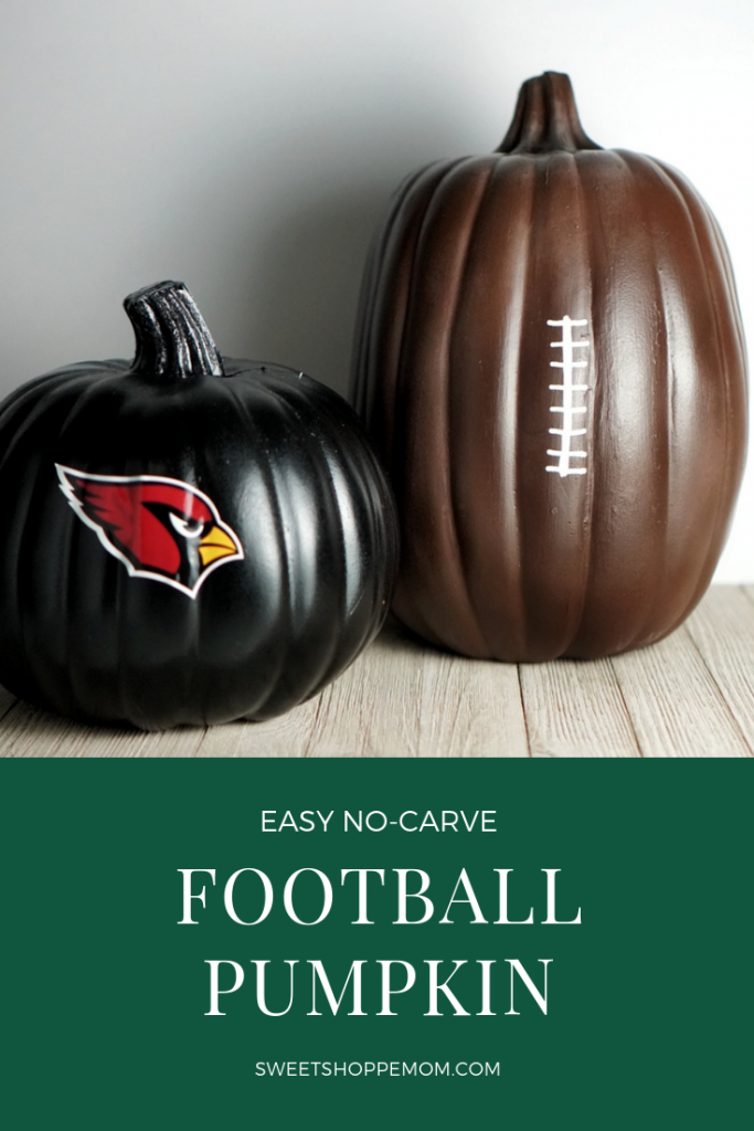Easy no-carve sports football pumpkin