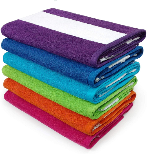 stack of striped beach towels