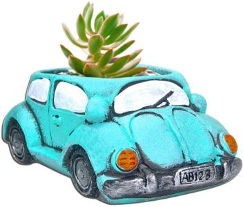 blue car succulent pot
