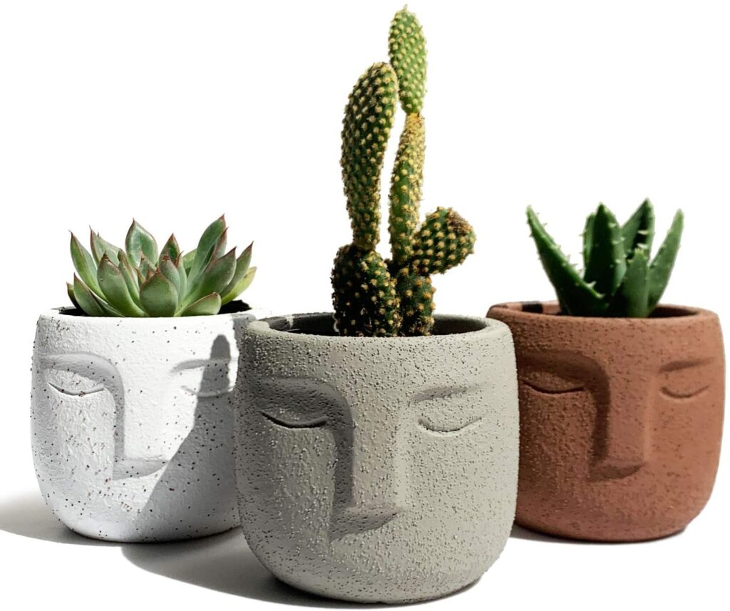 set of 3 face planters