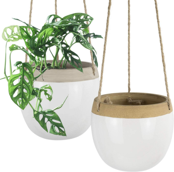 white and tan hanging pots