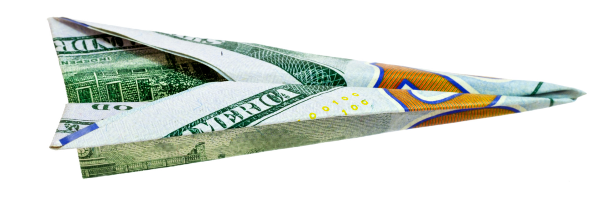 paper airplane from money